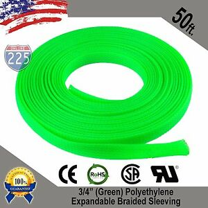 50 Ft 3 4 Green Expandable Wire Cable Sleeving Sheathing Braided Loom Tubing Us