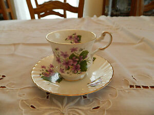 Queen S Fine Bone China Rosina China Co Teacup And Saucer Lavender Flowers 1 2