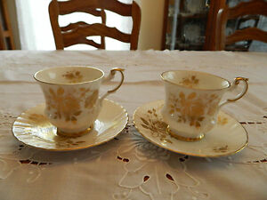 Queen S Rosina Fine Bone China 2 Teacup And Saucer Gold Roses 1 3
