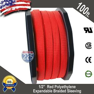 100 Ft 1 2 Red Expandable Wire Cable Sleeving Sheathing Braided Loom Tubing Us