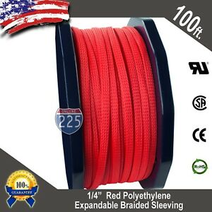 100 Ft 1 4 Red Expandable Wire Cable Sleeving Sheathing Braided Loom Tubing Us