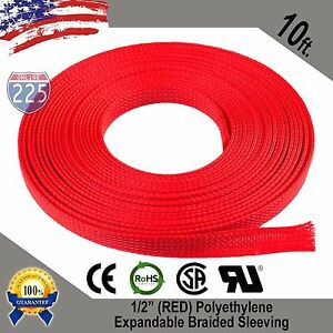 10 Ft 1 2 Red Expandable Wire Cable Sleeving Sheathing Braided Loom Tubing Us