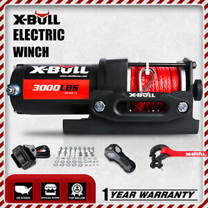 X Bull 3000lbs Electric Winch 12v Winch Utv Atv Winch Synthetic Rope 4wd