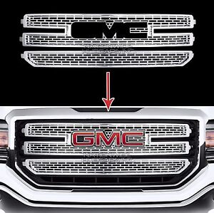 2016 18 Gmc Sierra 1500 Chrome Snap On Grille Overlay 3 Bar Grill Covers Inserts