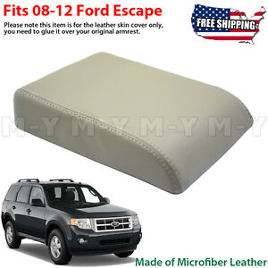Fits 2008 2012 Ford Escape Leather Center Console Lid Armrest Cover Beige Tan