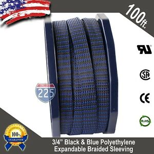 100 Ft 3 4 Black Blue Expandable Wire Sleeving Sheathing Braided Loom Tubing Us