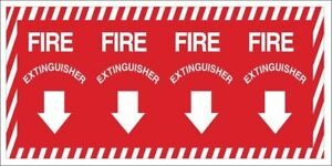 Fire Extinguisher Sign 14 X 28in yel r Brady 90369