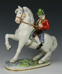 Dresden Volkstedt Figurine Bavarian Man On Horse Worldwide