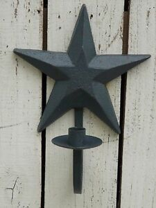 Star Wall Candle Holder Primitive Country Cast Iron Blue Star Sconce Home Decor