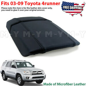 Fits 2003 2009 Toyota 4runner Leather Center Console Lid Armrest Cover Black