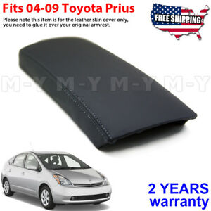 Fits 2004 2009 Toyota Prius Leather Center Console Lid Armrest Cover Black