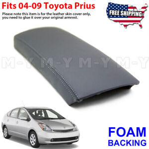 Fits 2004 2009 Toyota Prius Leather Center Console Lid Armrest Cover Gray