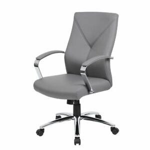Boss Office Leatherplus Executive Chair In Gray