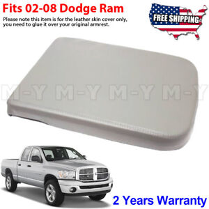 Fits 02 08 Dodge Ram Armrest Console Lid Leather Replacement Cover Taupe Gray