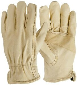 Outdoor Firm Grip size Large Full Grain Leather Work Gloves 6 pair Brown