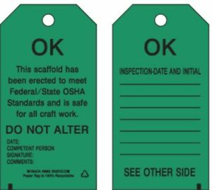 Scaffold Ok Tag 5 3 4 X 3 In pk100 Brady 86682