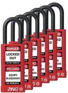 Lockout Padlock ka red 3 h pk6 Zing 7087