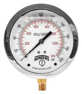 Gauge pressure 4in 0 To 200 Psi Winters Pfq713lf