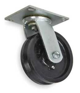 V groove Swivel Caster cast Iron 6 In 1200 Lb 1nwb4
