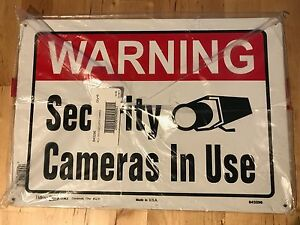 Lot Of 6 Warning Security Cameras In Use Metal Sign Video 10x14 Hillman 843296