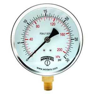 Gauge pressure 0 To 30 Psi 4 In Winters Pem221lf