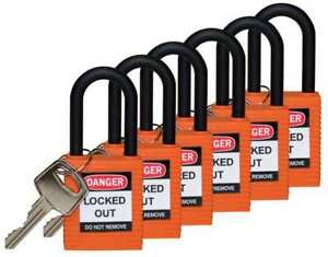 Lockout Padlock kd orange 1 3 4 h pk6 Brady 123355