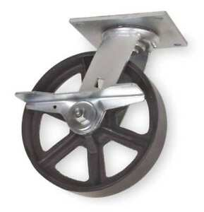 Swivel Plate Caster cast Iron 5 In 1200 Lb 1nvp8