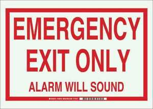 Brady 103616 Emergency Exit Sign text 10in H X 14in W