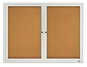 Enclosed Cork Bulletin Board 36 X 48 2 Door Quartet 2364