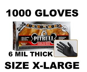 Pitbull Black Nitrile Gloves 6 Mil Powder Free Case Of 1000 Size Xl X large