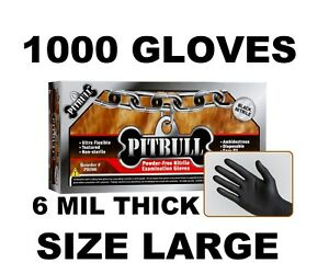 Pitbull Black Nitrile Gloves 6 Mil Powder Free Case Of 1000 Size L Large