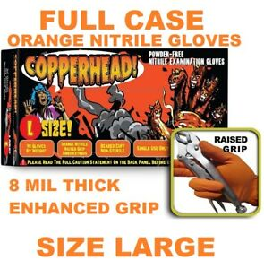Copperhead Orange Nitrile Gloves 8 Mil Powder Free Full Case In Size L Large