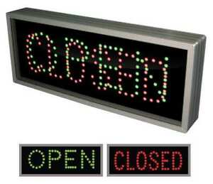 Led Sign open closed green Or Red black Tapco 108968