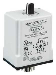 Macromatic Tr 51622 08 Time Delay Relay 120vac dc 10a dpdt