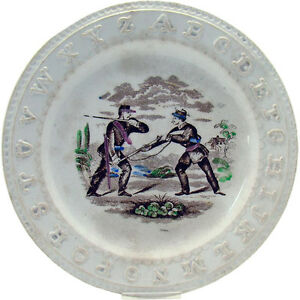 Staffordshire Abc Plate With Civil War Soldiers 1870 S