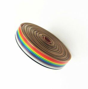 New 1 27mm Spacing Pitch10 Way 10p Flat Color Rainbow Ribbon Cable Wiring Wire
