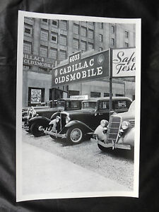 12 By 18 Black White Picture Abt 1936 Cadillac Oldsmobile Dealer