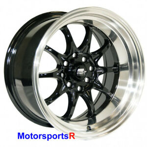 Mst Wheels Mt11 Rims 15 X 8 0 Black Machine Lip 4x114 3 84 85 Toyota Celica Gts