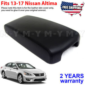 Fits 2013 2017 Nissan Altima Synthetic Leather Console Lid Armrest Cover Black