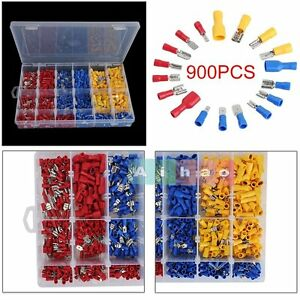 900pcs Assorted Insulated Electrical Wire Terminals Crimp Connectors Spade Set