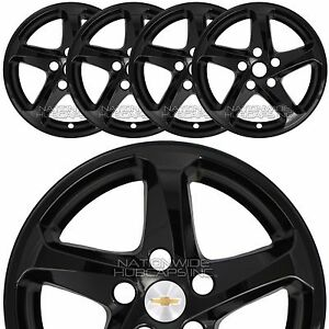 4 Fits 2016 2018 Chevy Malibu Ls Black 16 Wheel Skins Hub Caps Alloy Rim Covers