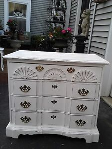 Vintage Shabby Chic Serpentine Chest Of Drawers