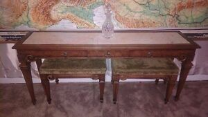 Antique Weiman Vintage Solid Carved Wood Marble Console Sofa Table Furniture
