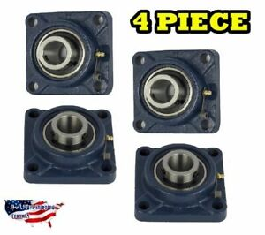 Ucf207 20 Pillow Block Flange Bearing 1 1 4 Bore 4 Bolt Solid Base 4pcs