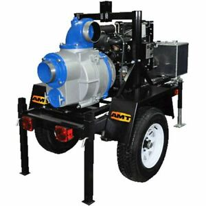 Amt Pump 5585 h6 1000 Gpm 6 Trailer Mounted Electric Start Trash Pump W