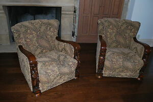 Pair Of Antique Solid Wood Armchairs Louis Xiii Xiv Xv Xvi