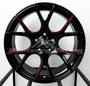 18x8 5 5x110 Str 905 Gloss Black And Red Saturn Pontiac Chevy