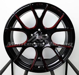 18x8 5 5x120 Str 905 Gloss Black And Red Bmw Camaro Pontiac