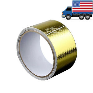 2 15ft Gold Intake Heat Reflective Tape Wrap Self adhesive High Temperature