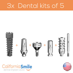 3x Dental Kits Of Implant Straight Abutment Analog Transfer Healing Cap